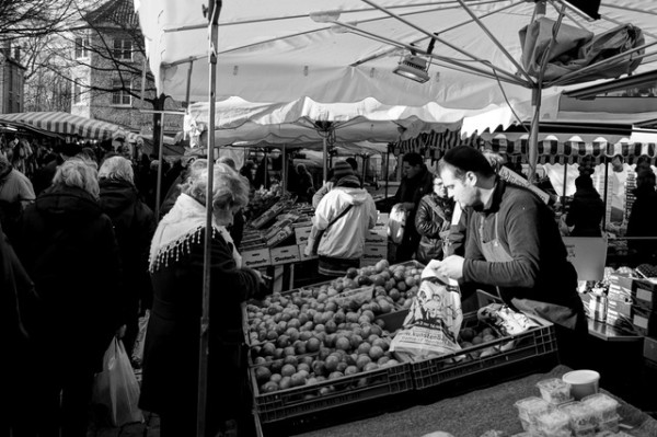 Finally - a place in Bruges where the crowd is mostly residents, not tourists: The Saturday Morning Market near 't Zand Square.