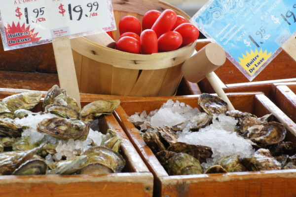Yum...fresh oysters at Montreal's Jean-Talon market.
