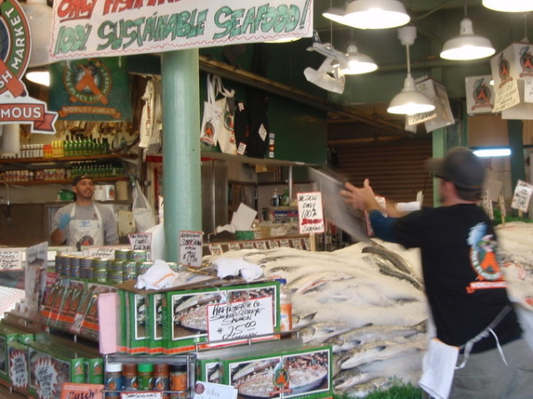 The fish throwing is famous at Seattle's Pike Place Market