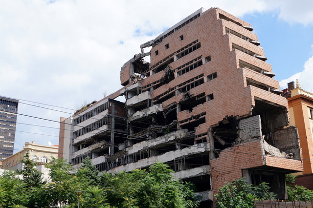 The Yugoslav Ministry of Defence building has been left alone after the bombing.