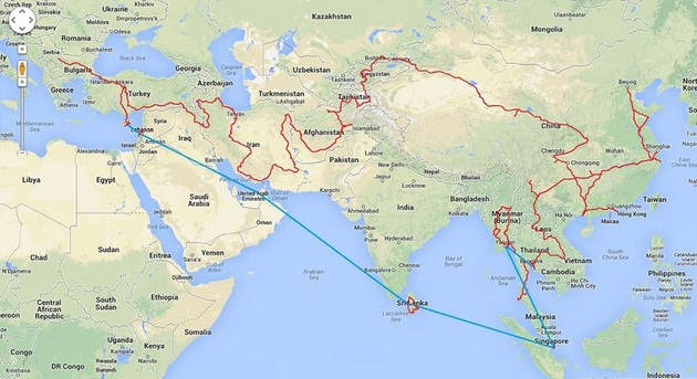 A map showing where Nenad travelled when he hitchhiked from Serbia to Asia.