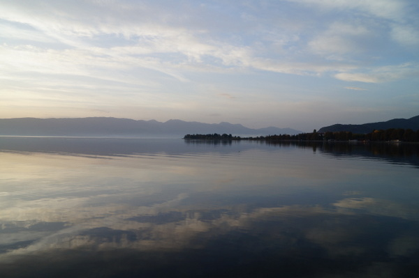 Cloud reflections on Lake Ohid