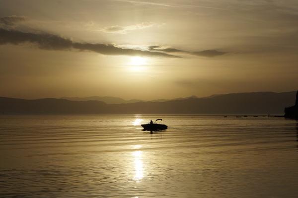 Lone boat on Lake Ohrid