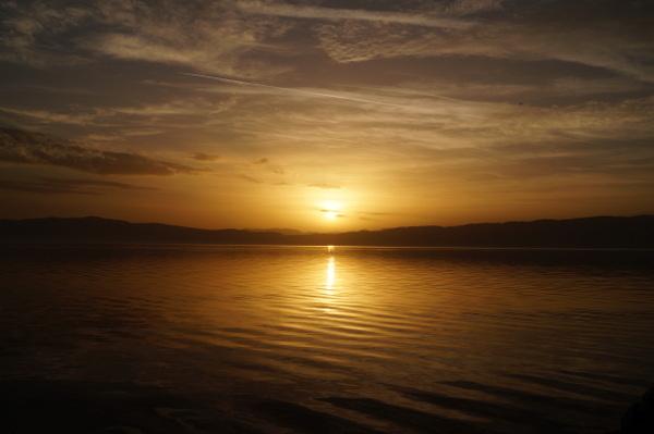 Sun sets on Lake Ohrid