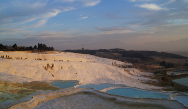 Bright sky and pools at Pamukkale