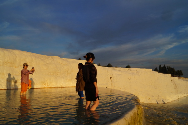 Testing the water at Pamukkale