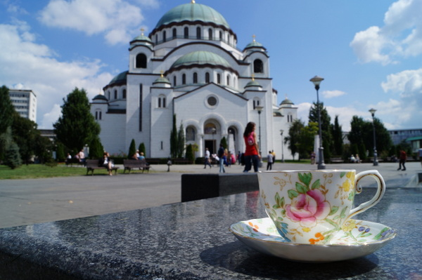 Outside The Cathedral of Saint Sava in Belgrade, Serbia.