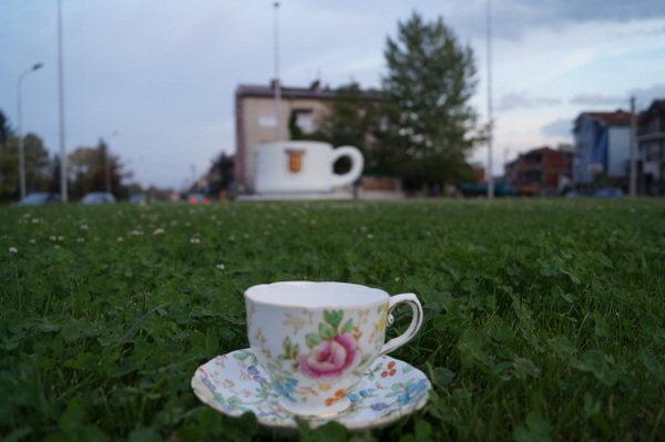 Bitola in Macedonia has a giant teacup welcoming people to the city. I just had to get this shot!