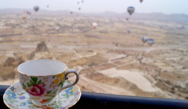 My teacup's last outing for 2013 and probably the highlight - hot air ballooning over Cappadocia, Turkey.