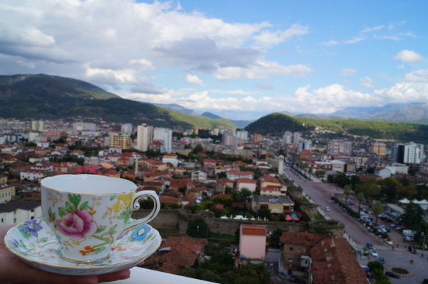 In the hand of my American Peace Corp volunteer CouchSurfing host Jen, over the city of Elbasan in Albania.