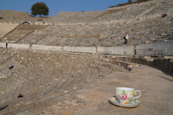 Soaking up some history at Ephesus, an ancient city in Turkey.