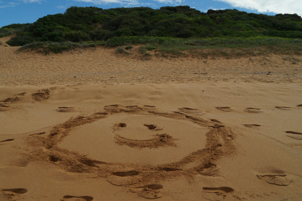 Smiley Face on Avalon Beach