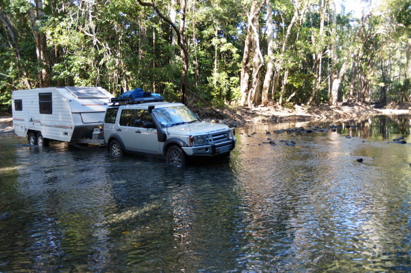 The Bloomfield Track is a 30km 4WD-only road between Cape Tribulation and Cooktown. It's impassable in the wet season and challenging in the dry - even more so when you tow an six-metre caravan behind you.