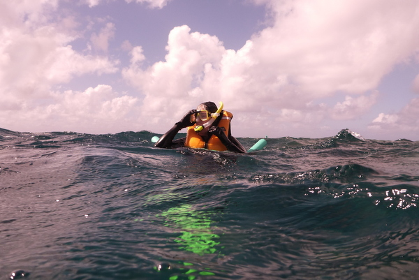 Snorkling in rough waters