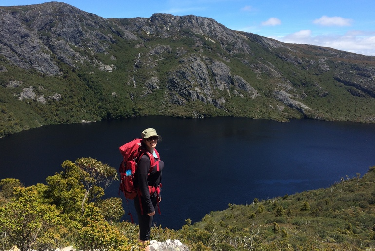 On a training walk at Cradle Mountain, testing out my new pack. I'll pass Crater Lake again on day one of the Overland.