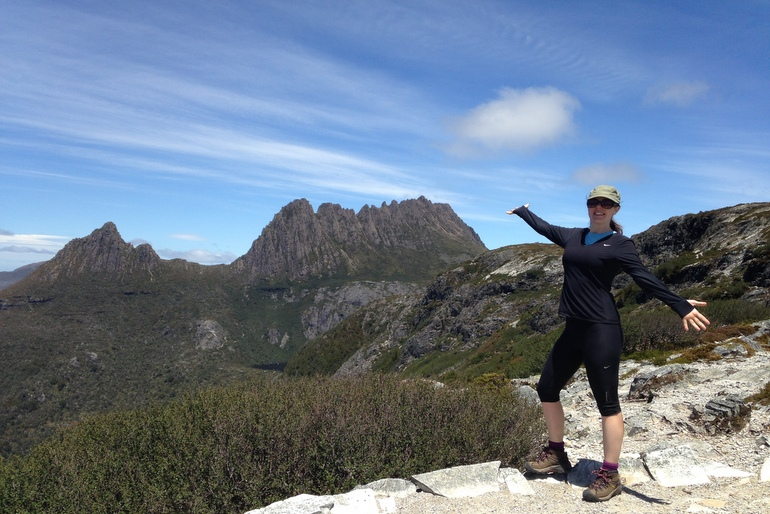From Marions Lookout. That's Cradle Mountain in the distance. Weather permitting, I'll climb to the summit on day one!