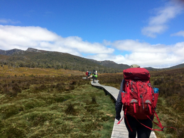 Testing out the pack at the start of the Overland Track at Cradle Mountain.