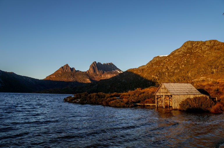 Dove Lake, Boat Shed at sunrise, Cradle Mountain