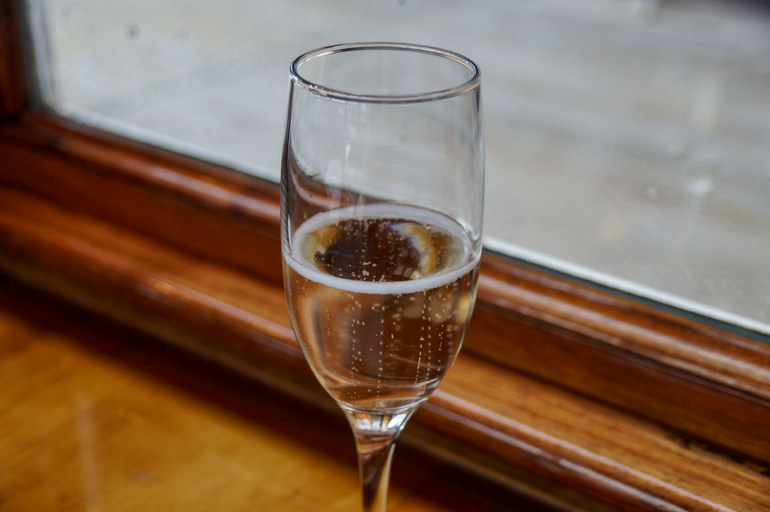Bubbly in the carriage, West Coast Wilderness Railway
