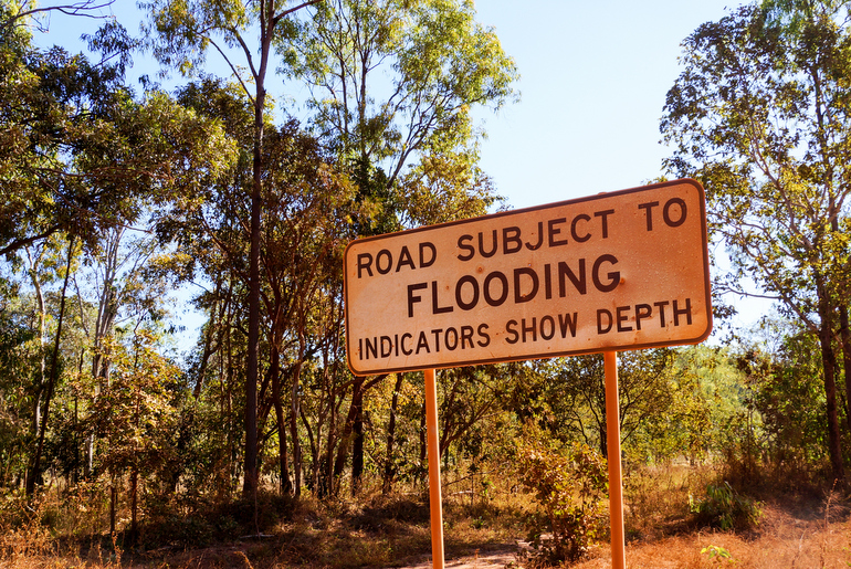 Cape York - Flood sign